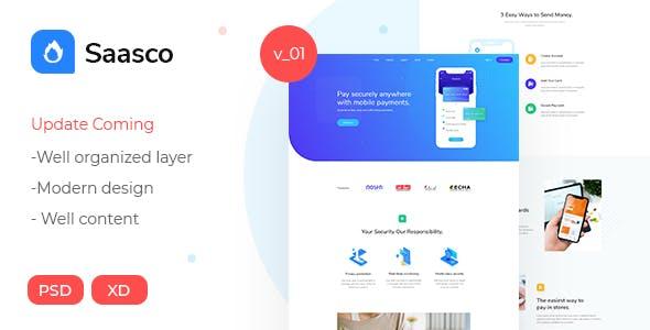 Saasco - Software, App, Startup, Saas PSD Template