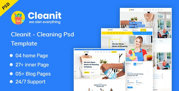 Cleanit - Cleaning PSD Template - Business Corporate