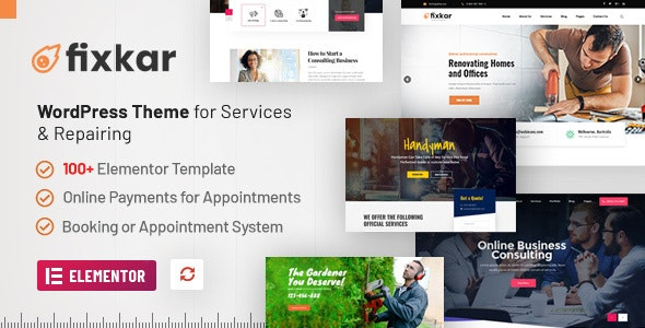 FixKar - A Services WordPress Theme (Elementor) with Online Payment System for Appointments - Business Corporate