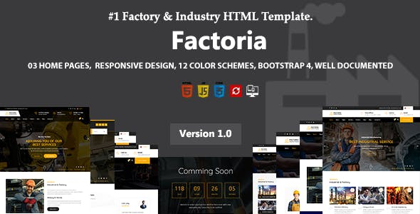 Factoria - Factory & Industry HTML Template