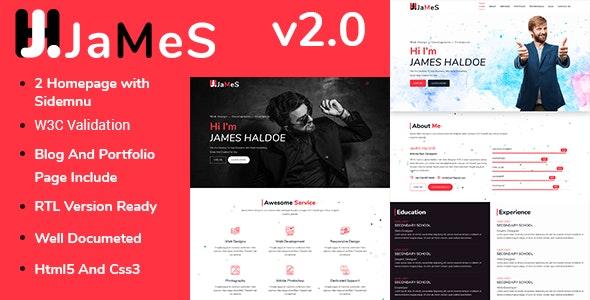James - Personal Portfolio HTML Template - Personal Site Templates