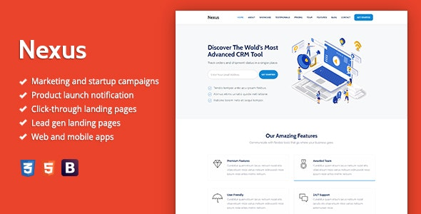 Nexus - Premium SaaS Landing Page Template by Epic-Themes | ThemeForest