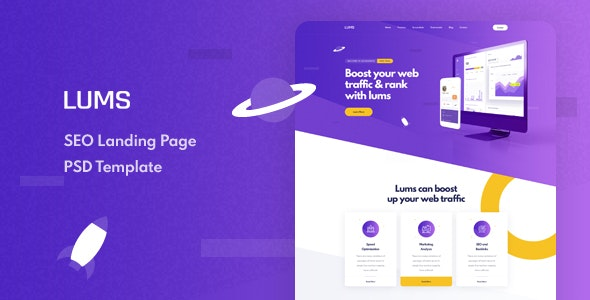 Lums - SEO Landing Page - Technology PSD Templates