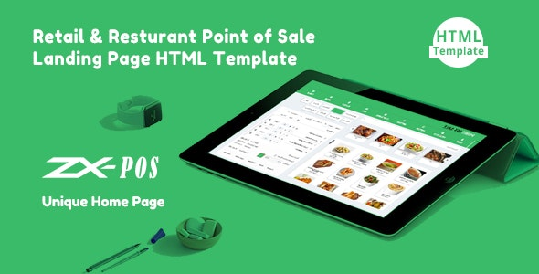 Zxpos - Sass Retail & Restaurant Point of Sale Landing Page HTML Template by 24webpro