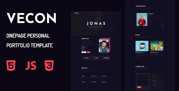 Vecon - Personal Portfolio OnePage Template - Portfolio Creative