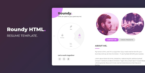 Roundy HTML - Personal Resume Template - Virtual Business Card Personal
