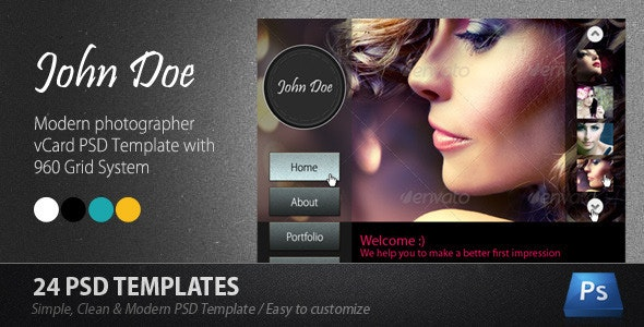 Modern Photographer Vcard PSD Template - Virtual Business Card Personal