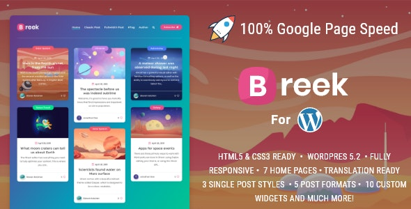 Breek - Minimal Masonry Theme for WordPress - Personal Blog / Magazine