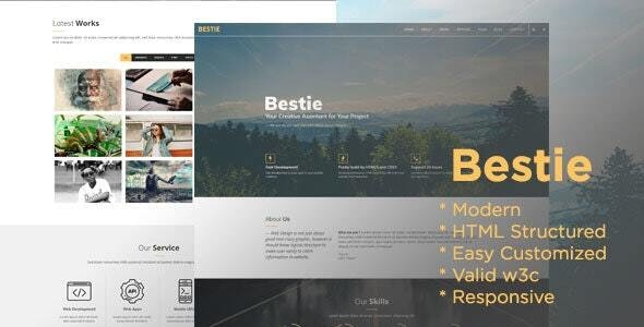 Bestie - One Page Digital Branding HTML Template - Creative Site Templates