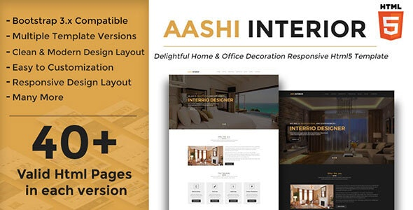 Aashi Interior - Responsive HTML Template for Home and Office Decoration - Business Corporate