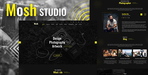 Mosh - Photographer One Page PSD Template - Photography Creative