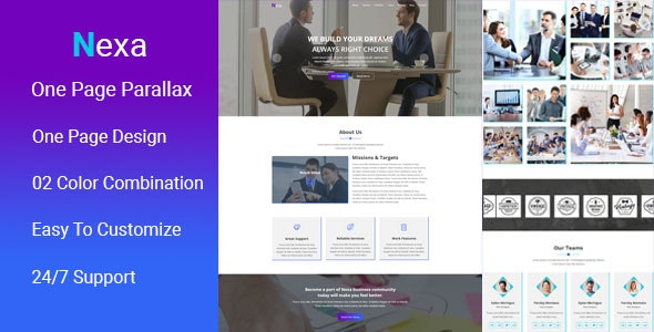 Nexa - One Page Parallax Muse Template - Corporate Muse Templates
