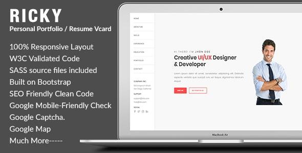 Ricky-Personal Portfolio / Resume Vcard Template - Portfolio Creative