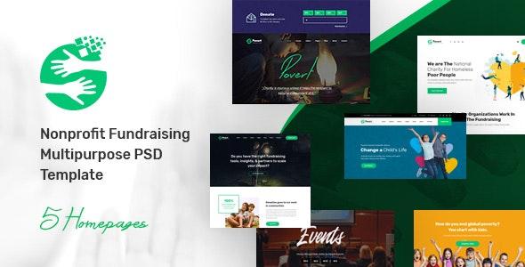 Povert - Nonprofit Fundraising Multipurpose PSD Template - Nonprofit PSD Templates