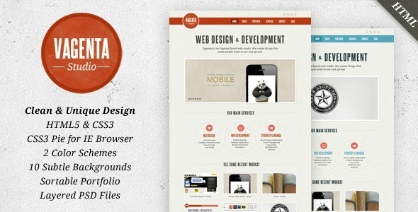 Vagenta 2 in 1 - Clean and Unique HTML Template - Portfolio Creative