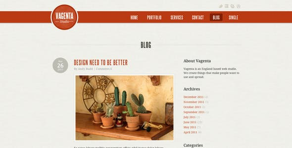 Vagenta 2 in 1 - Clean and Unique HTML Template