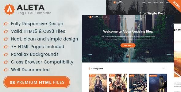 Aleta - Blog HTML Template - Creative Site Templates