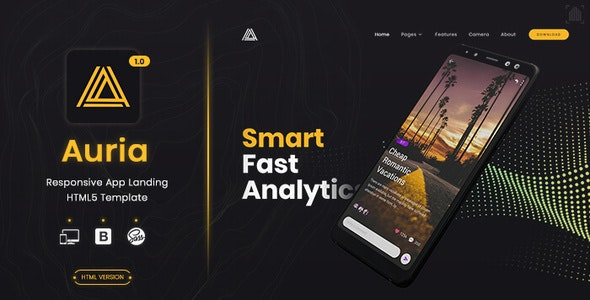 Auria - App Landing Page - Technology Site Templates