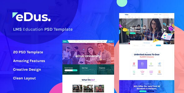 Edus - LMS & Online Education Learning PSD Template - Corporate PSD Templates