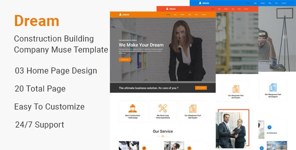 Dream-Construction Building Company Muse Template - Corporate Muse Templates