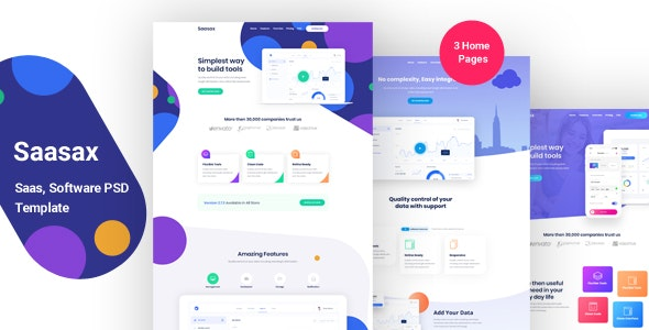 Saasax – Landing Page for App, Saas, Software - Technology Photoshop