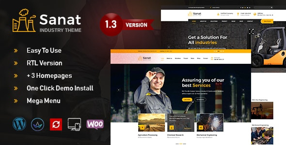 Sanat - Factory & Industry WordPress Theme - Business Corporate