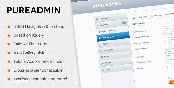 Pure Admin - Modern & Clean HTML Template - Admin Templates Site Templates