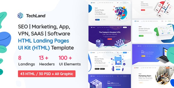 TechLand - SEO|Marketing, SAAS|Software, App, VPN Landing pages + UI Kit HTML Template - Technology Site Templates