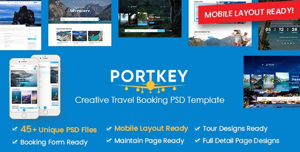 PortKey - Creative Tour & Travel Booking PSD Template (Mobile Layout Included) - Travel Retail