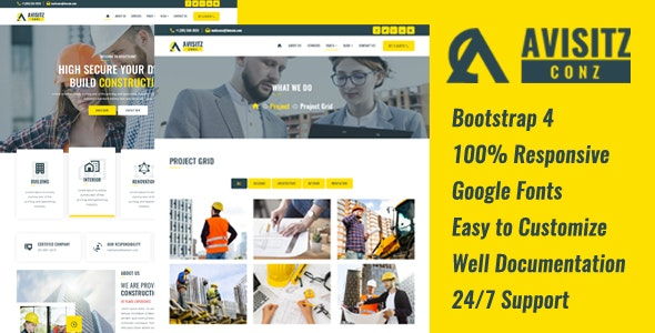 AvisitzConz - Construction HTML5 Template - Business Corporate