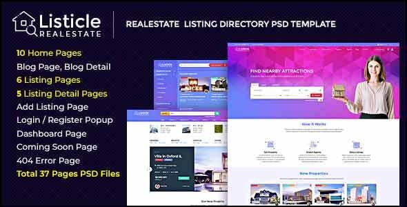 Listicle - RealEstate Listing PSD Template - Business Corporate