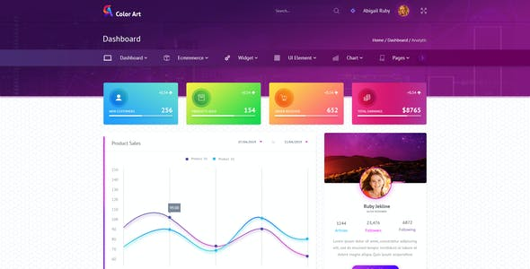 Color Art  - Admin PSD Template
