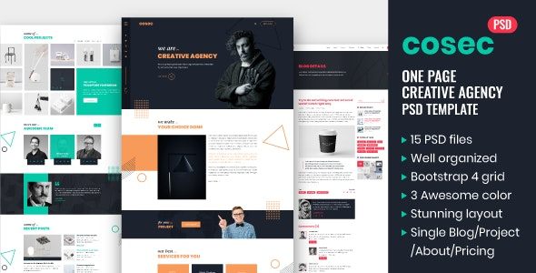 Cosec - One Page Creative Agency PSD Template - Creative PSD Templates
