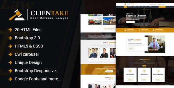 Clientake – Responsive Law Firm HTML Template - Business Corporate