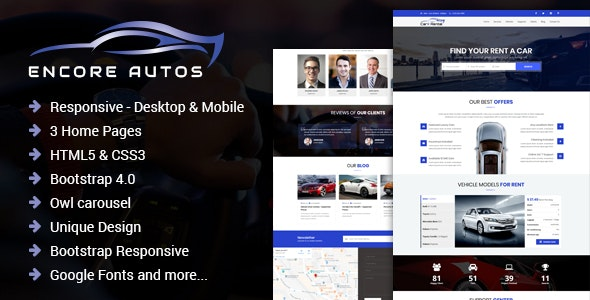 Encore Autos - One Page Car Rental HTML Template - Corporate Landing Pages