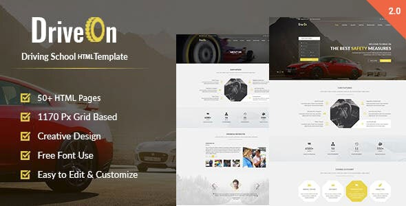 DriveOn – Driving School HTML Template - Business Corporate