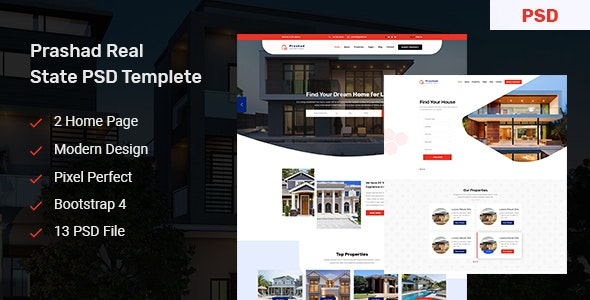 Prashad - Real Estate PSD Template - Business Corporate