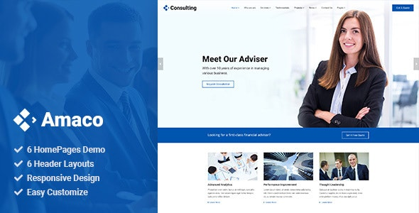 Amaco - Consulting PSD Template - Business Corporate