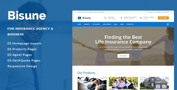 Bisune - Insurance Agent PSD Template - Business Corporate