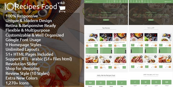 Recipes Food - HTML Template