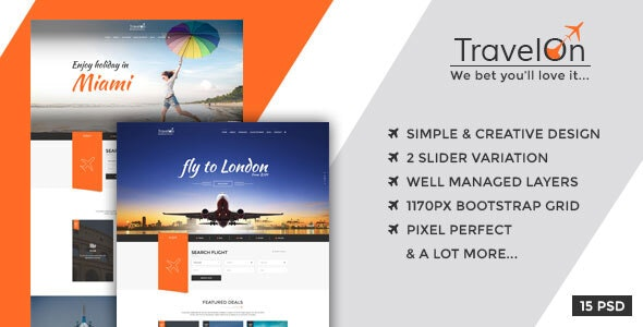 Travel On -  PSD Template for Tourism Business - Travel Retail
