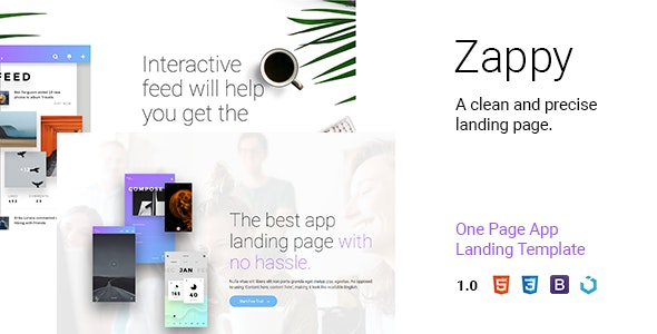 Zappy — One Page App Landing - Software Technology
