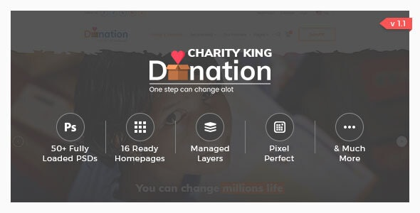 Charity King - PSD Template - Charity Nonprofit