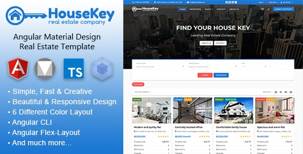 HouseKey - Angular Material Design Real Estate Template by