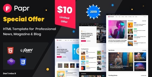 Papr |  News Website Template - Creative Site Templates