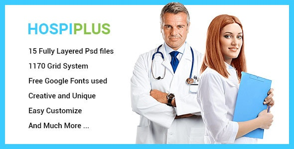 HospiPlus - Professional Hospital Services PSD Template - Business Corporate