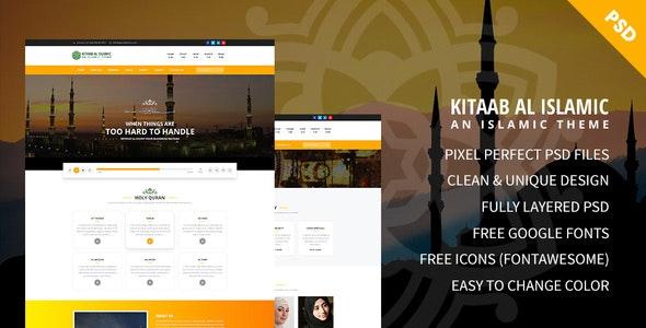 Kitaab Al Islamic - Hidayat Center & Forum PSD Template - Nonprofit Photoshop
