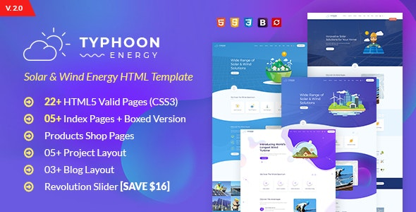 Typhoon - Solar & wind Energy HTML Template by webstrot