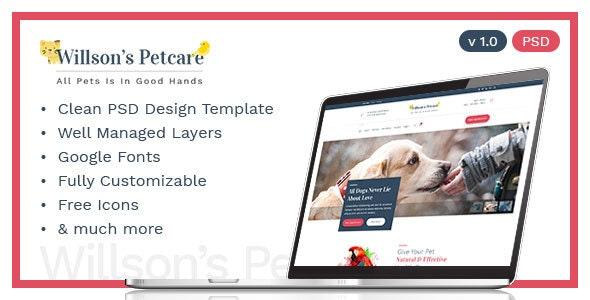 Pets Care - Veterinary Clinic PSD Template - Corporate Photoshop