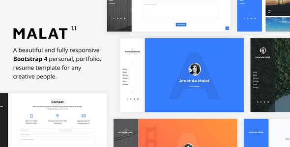 Malat - Responsive Personal / Portfolio / Resume Template - Virtual Business Card Personal